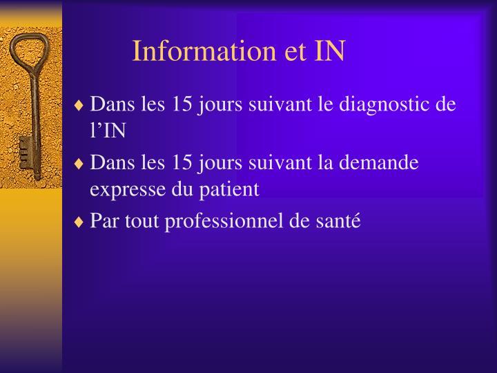Information et IN