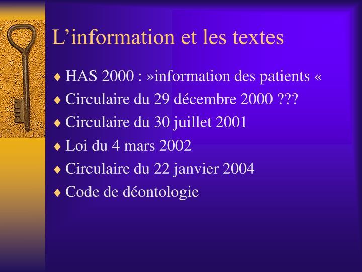 L'information et les textes