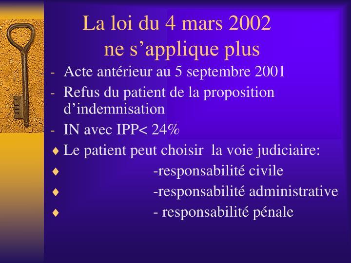 La loi du 4 mars 2002