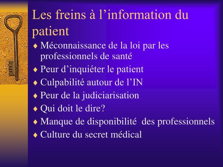 Les freins à l'information du patient
