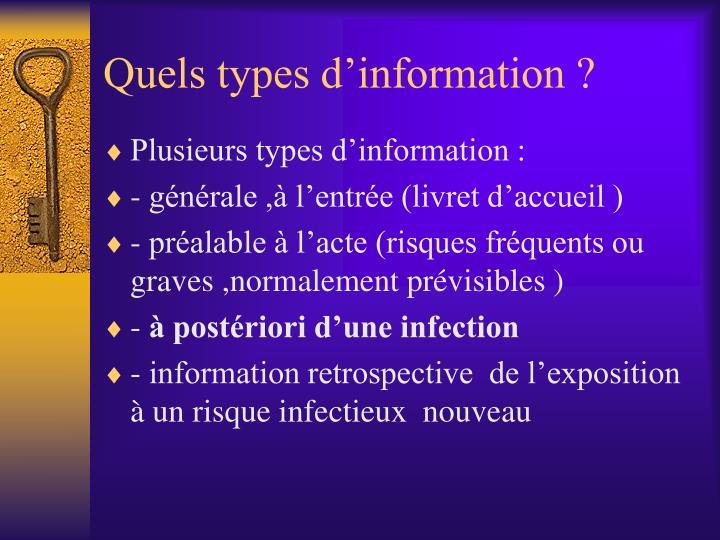 Quels types d'information ?