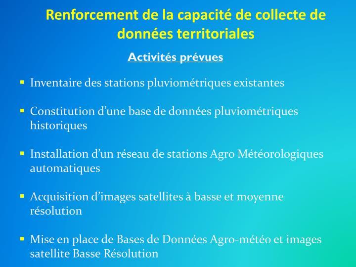 Renforcement de la capacité de collecte de données territoriales