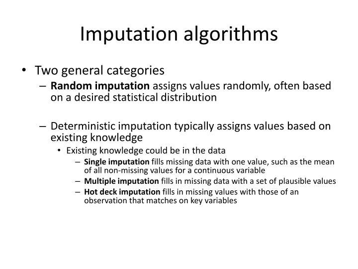 Imputation algorithms