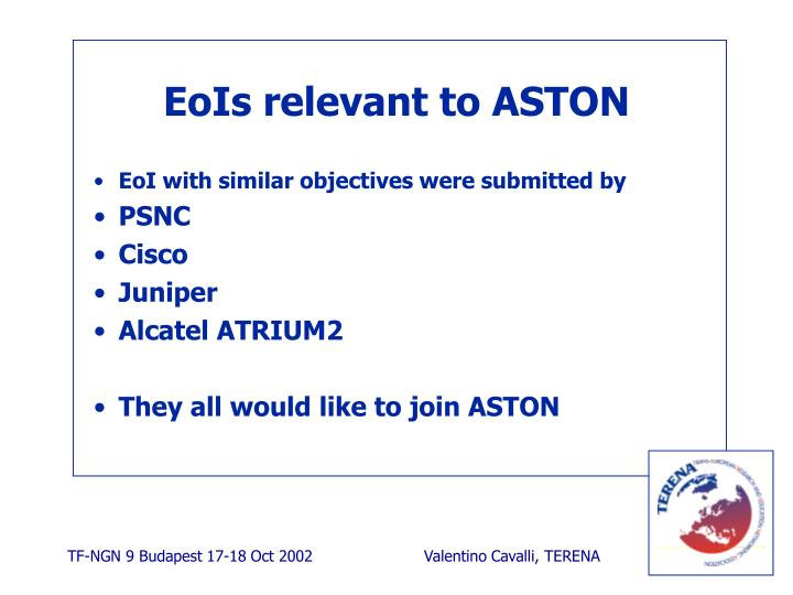 EoIs relevant to ASTON