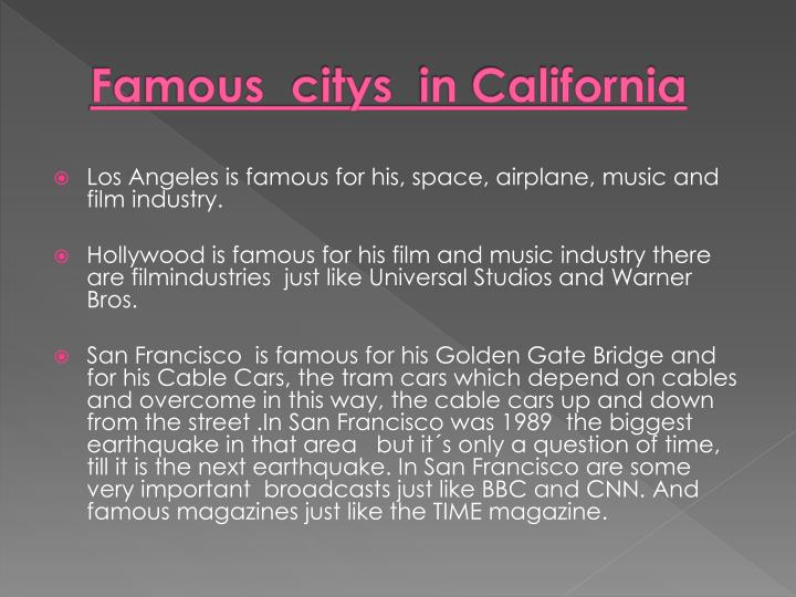 Famous citys in california