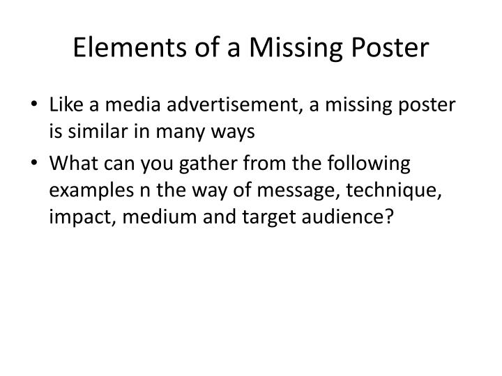 Elements of a Missing Poster