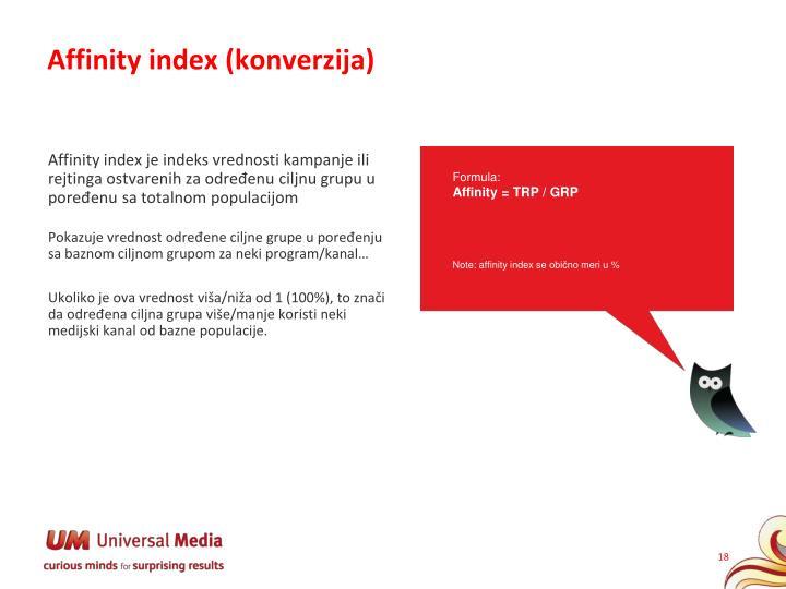 Affinity index (