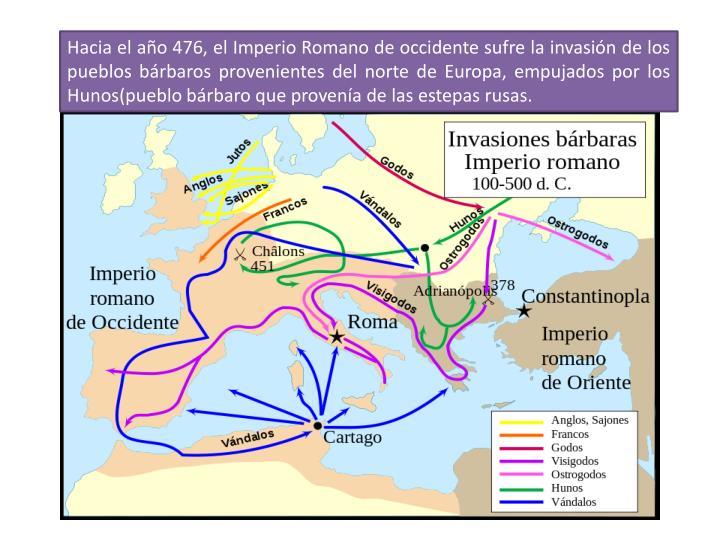 Hacia el año 476, el Imperio Romano de occidente sufre la invasión de los pueblos bárbaros provenientes del norte de Europa, empujados por los Hunos(pueblo bárbaro que provenía de las estepas rusas.