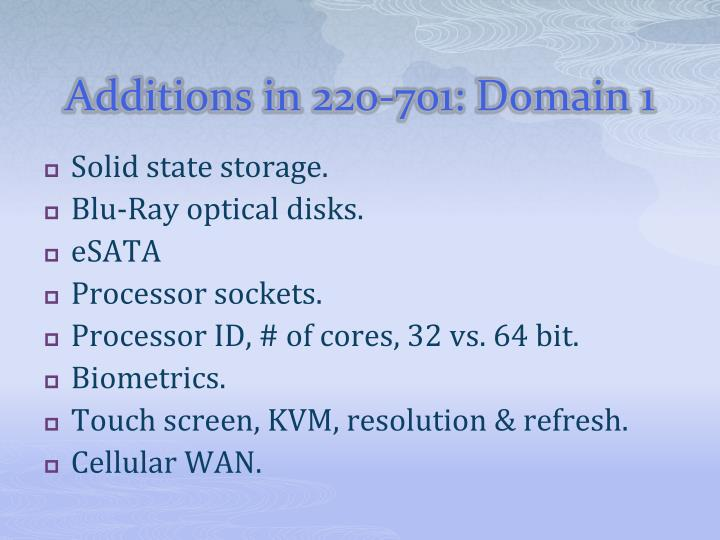 Additions in 220 701 domain 1