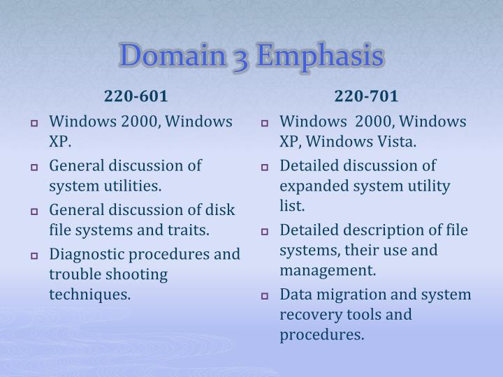 Domain 3 Emphasis