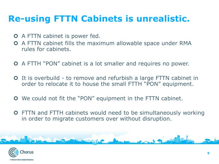 Re-using FTTN Cabinets is unrealistic.
