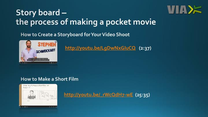 Story board the process of making a pocket movie