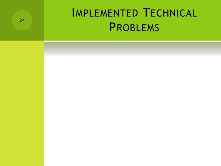 Implemented Technical Problems
