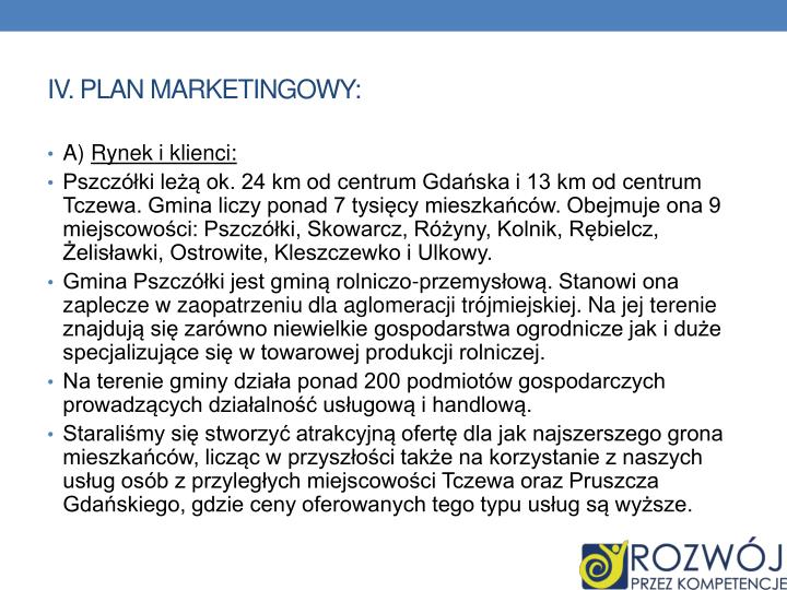 IV. PLAN MARKETINGOWY: