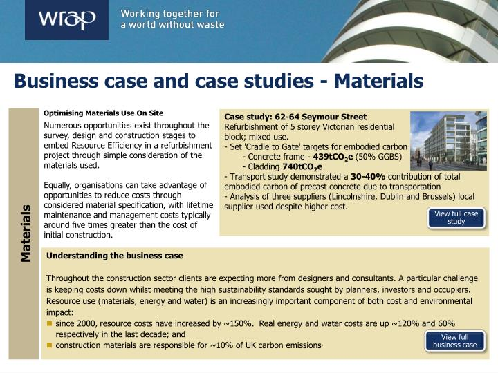 Business case and case studies - Materials