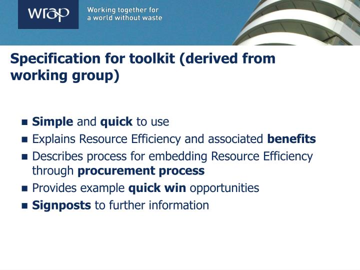 Specification for toolkit (derived from working group)