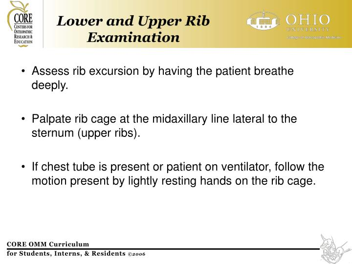 Assess rib excursion by having the patient breathe deeply.