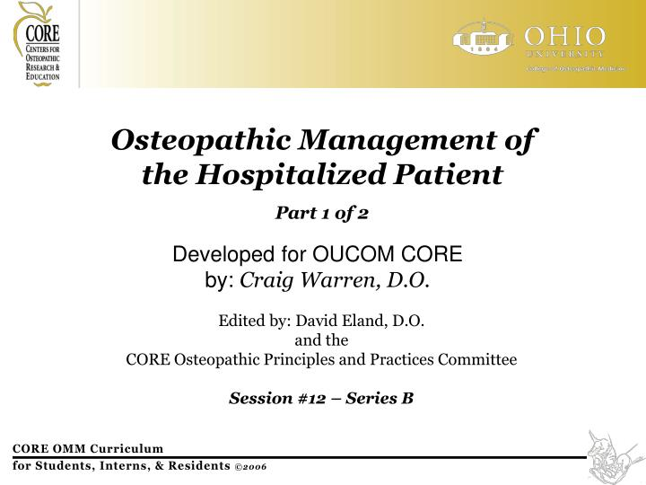 Osteopathic Management of
