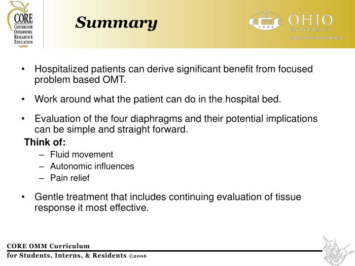 Hospitalized patients can derive significant benefit from focused problem based OMT.