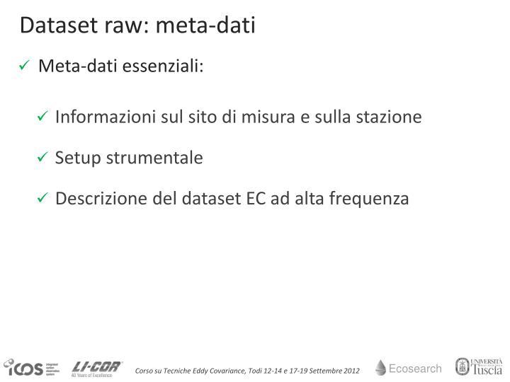 Dataset raw: meta-dati