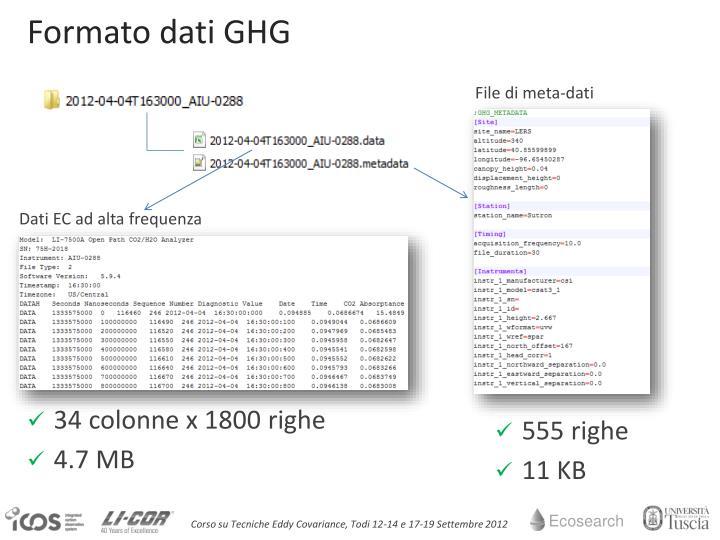 Formato dati GHG
