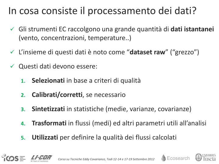 In cosa consiste il processamento dei dati?