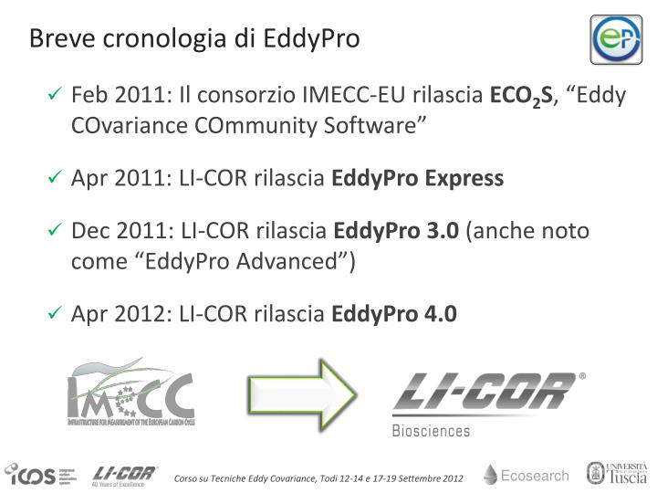 Breve cronologia di EddyPro