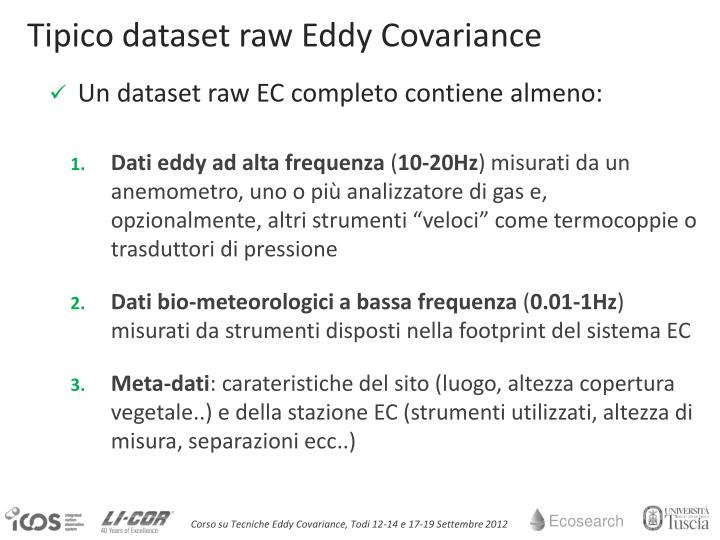 Tipico dataset raw Eddy Covariance