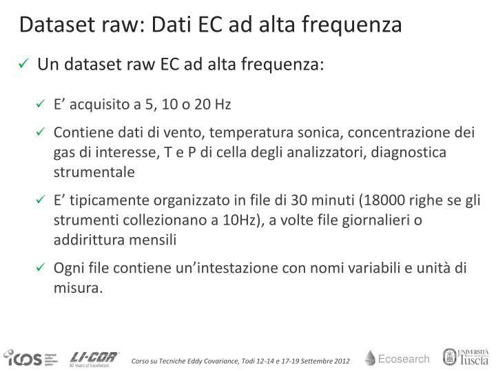 Dataset raw: Dati EC ad alta frequenza