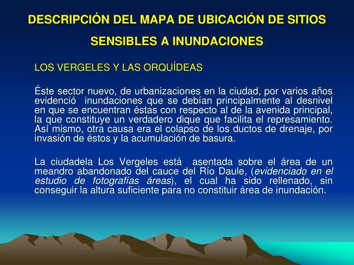 DESCRIPCIÓN DEL MAPA DE UBICACIÓN DE SITIOS SENSIBLES A INUNDACIONES