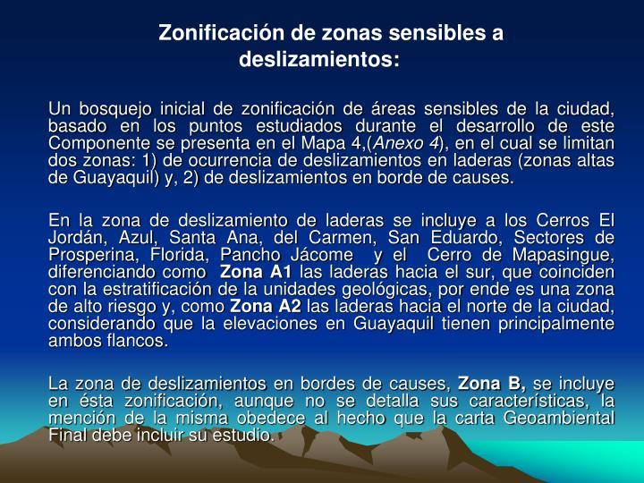 Zonificación de zonas sensibles a
