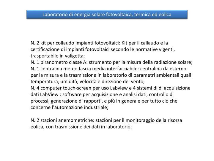 Laboratorio di energia solare fotovoltaica, termica ed eolica