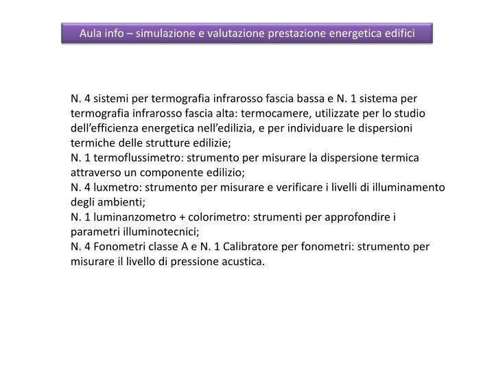 Aula info – simulazione e valutazione prestazione energetica edifici