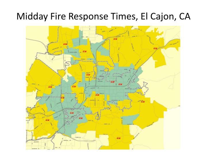 Midday Fire Response Times, El Cajon, CA