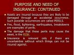 purpose and need of insurance continued
