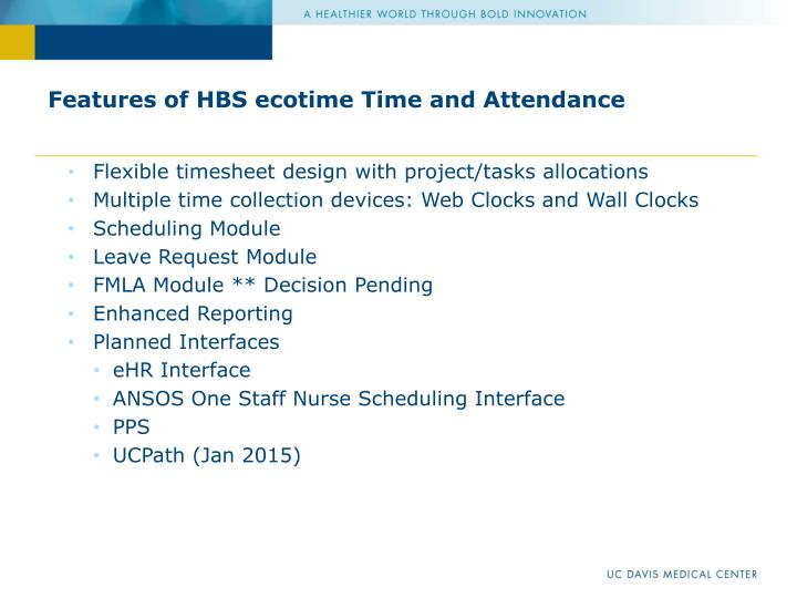 Features of hbs ecotime time and attendance
