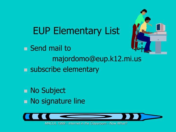 EUP Elementary List