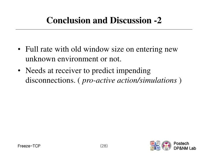 Conclusion and Discussion -2