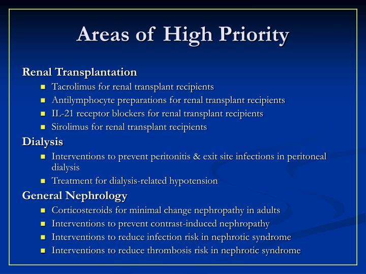 Areas of High Priority