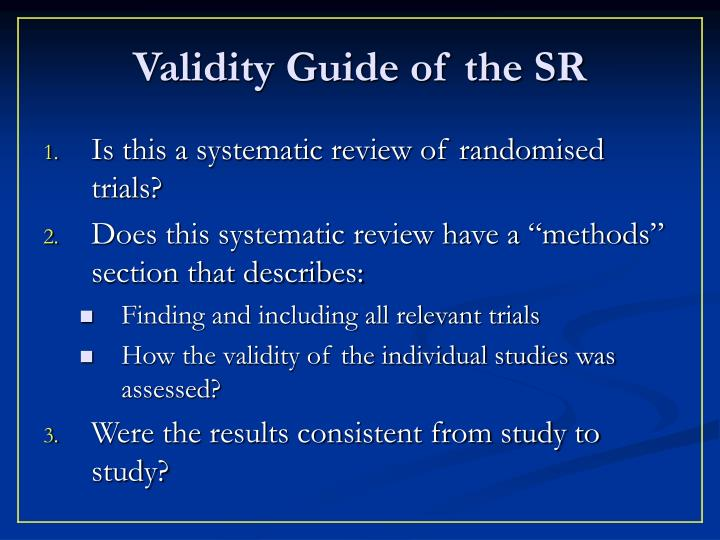 Validity Guide of the SR