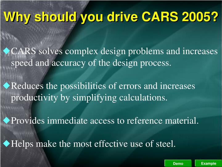 Why should you drive CARS 2005?