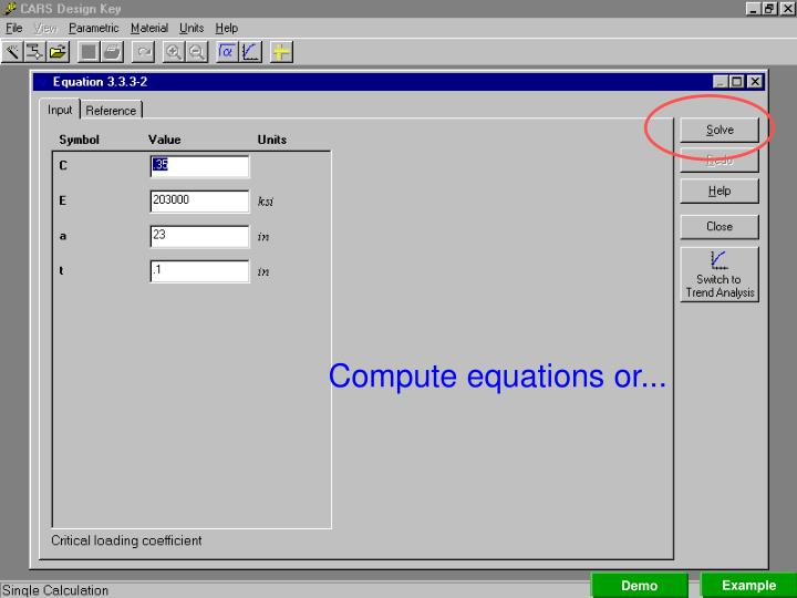 Compute equations or...