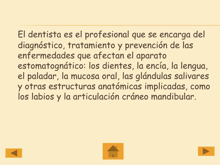 El dentista es el profesional que se encarga del diagnóstico, tratamiento y prevención de las enfermedades que afectan el aparato estomatognático: los dientes, la encía, la lengua, el paladar, la mucosa oral, las glándulas salivares y otras estructuras anatómicas implicadas, como los labios y la articulación cráneo mandibular.