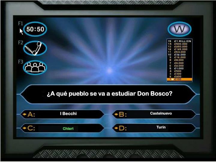 ¿A qué pueblo se va a estudiar Don Bosco?