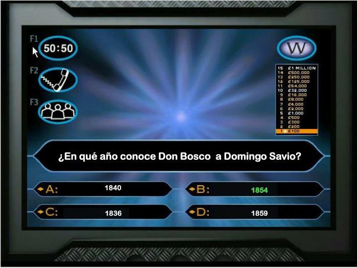 ¿En qué año conoce Don Bosco  a Domingo Savio?
