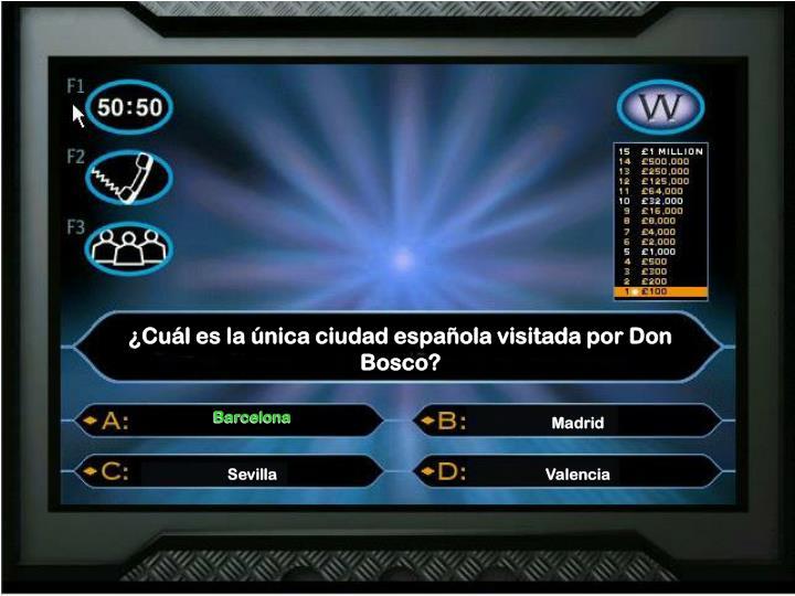 ¿Cuál es la única ciudad española visitada por Don Bosco?