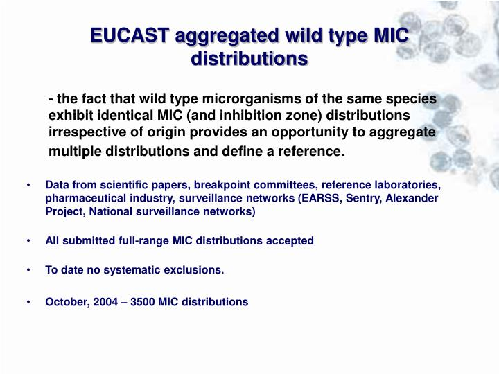 EUCAST aggregated wild type MIC distributions