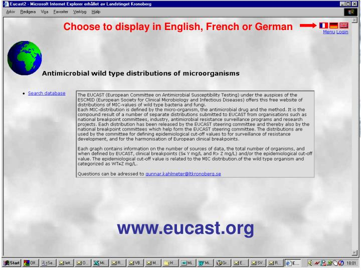 Choose to display in English, French or German