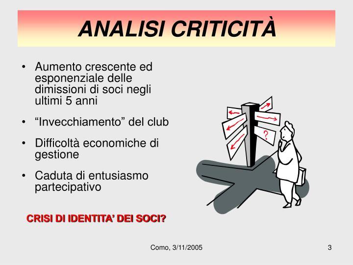 Analisi criticit