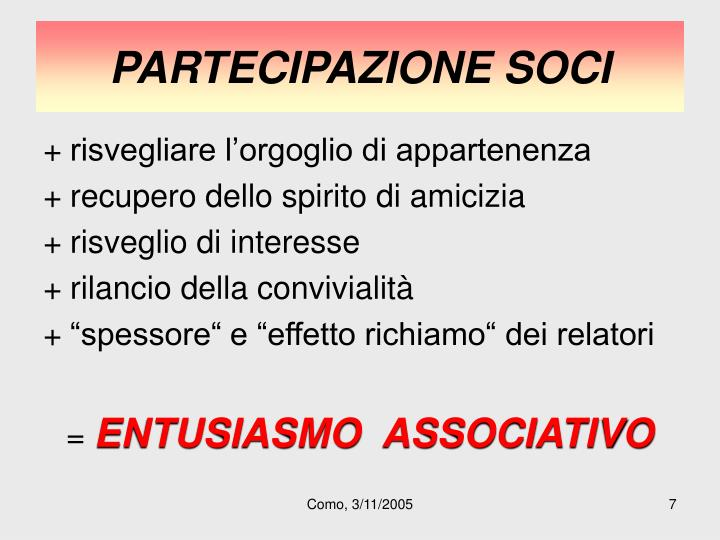 PARTECIPAZIONE SOCI